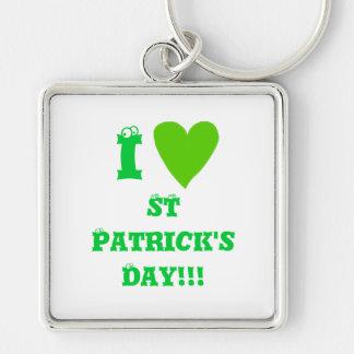 El día de St Patrick Llavero Cuadrado Plateado