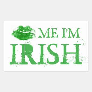 El día de St Patrick me besa que soy labios verdes Rectangular Pegatinas