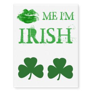 El día de St Patrick me besa que soy labios verdes Tatuajes Temporales