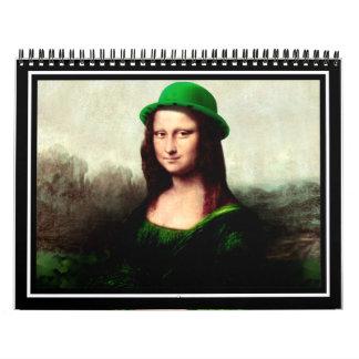 El día de St Patrick - Mona Lisa afortunada Calendario De Pared