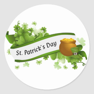 El día de St Patrick Pegatina Redonda