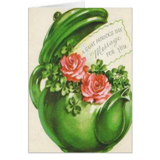 El día de St Patrick subió tetera verde del trébol Tarjeta De Felicitación