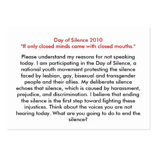 El día de tarjetas de discurso del silencio se dob tarjeta personal
