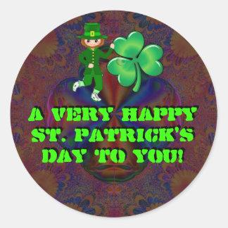 ¡El día de un St Patrick muy feliz a usted! Pegatina Redonda