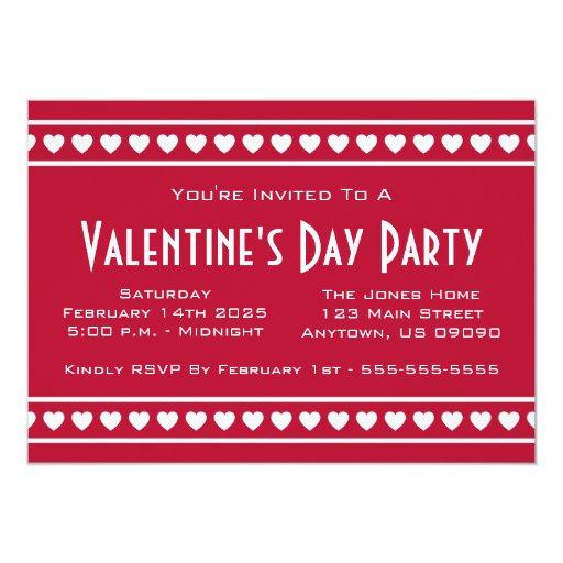 El día de Valetine de la frontera de los corazones Invitación 12,7 X 17,8 Cm