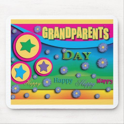El día del abuelo, estrellas y flores azules mouse pad