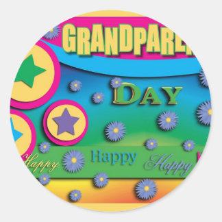 El día del abuelo, estrellas y flores azules pegatina redonda