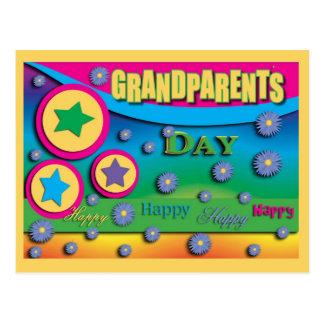El día del abuelo, estrellas y flores azules postal