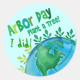 """¡El DÍA DEL ÁRBOL del PEGATINA, """"planta un árbol"""" Pegatina Redonda"""