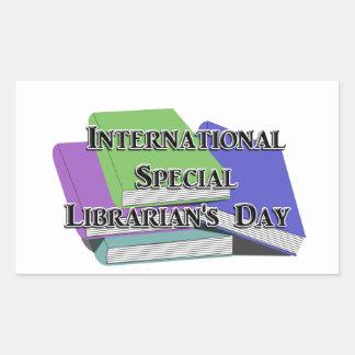 El día del bibliotecario especial internacional pegatina rectangular