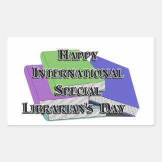El día del bibliotecario especial internacional rectangular pegatinas