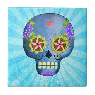 El día del cráneo azul muerto del azúcar azulejo cuadrado pequeño