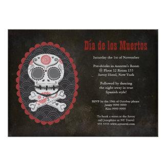 El día del cráneo del azúcar de Halloween del fies Invitacion Personalizada