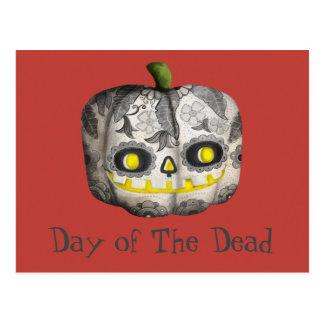 El día del cráneo muerto del azúcar de la calabaza tarjetas postales