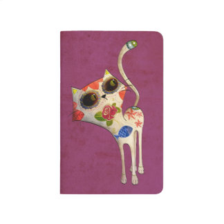 El día del gato lindo blanco muerto cuadernos