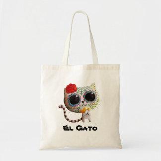 El día del gato lindo muerto bolsa tela barata