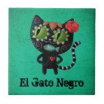 El día del gato negro muerto azulejo cuadrado pequeño