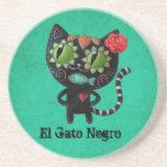El día del gato negro muerto posavasos de arenisca