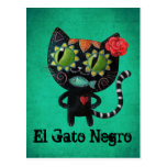 El día del gato negro muerto postal