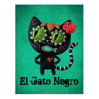 El día del gato negro muerto tarjetas postales
