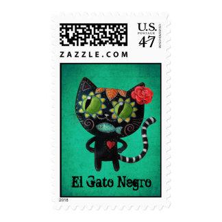 El día del gato negro muerto timbre postal