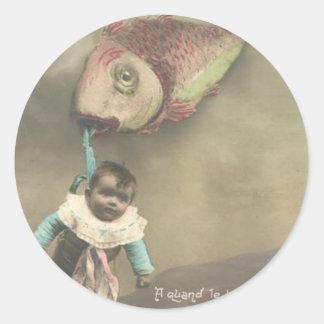 El día del inocente del d'avril de Poisson del pez Pegatina Redonda
