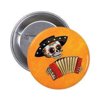 El día del Mariachi muerto del EL del esqueleto Pin Redondo De 2 Pulgadas