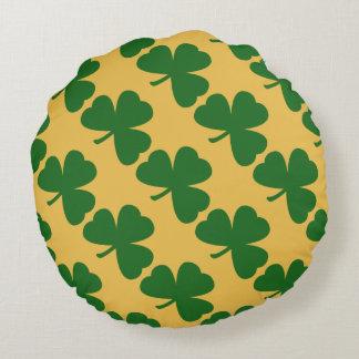 El día del trébol de St Patrick amarillo y verde Cojín Redondo