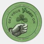 El día elegante de St Patrick del vintage consigue Pegatinas Redondas