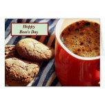 El día feliz de Boss con café y galletas Felicitacion
