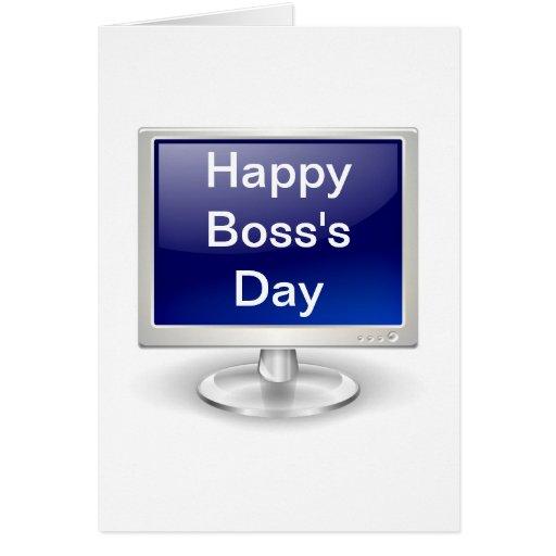 El día feliz de Boss con el monitor de computadora Tarjeta