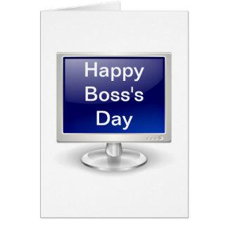 El día feliz de Boss con el monitor de computadora Tarjeta De Felicitación