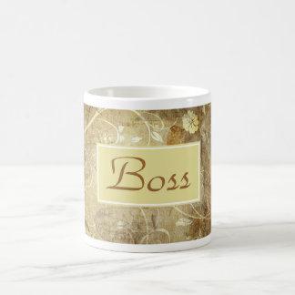 El día feliz de Boss para el jefe femenino con las Taza Básica Blanca