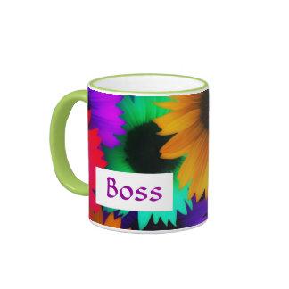 El día feliz de Boss para el jefe femenino con las Taza A Dos Colores