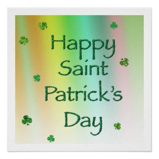 El día feliz de San Patricio con los tréboles Perfect Poster