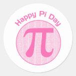 El día feliz del pi numera rosa etiqueta redonda