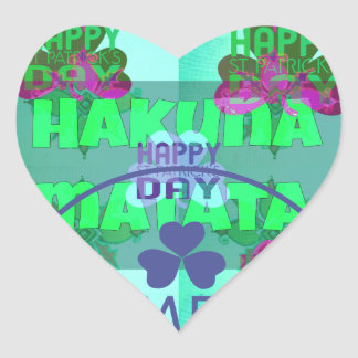 El día feliz Hakuna Matata de San Patricio Pegatina En Forma De Corazón