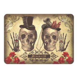 El día gótico de los cráneos de los muertos ahorra invitación 11,4 x 15,8 cm