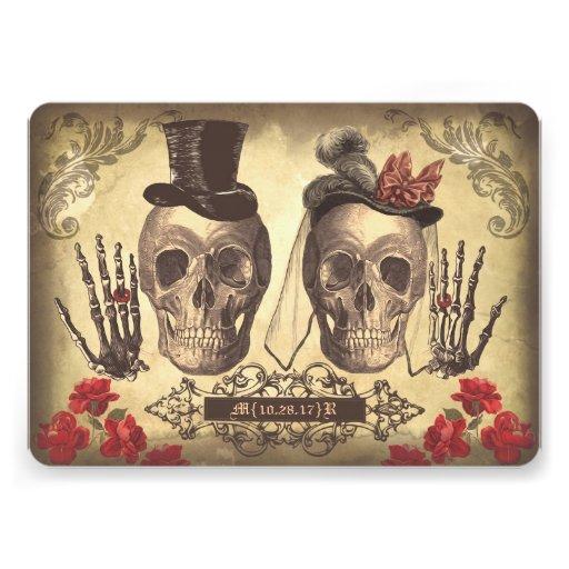 El día gótico de los pares del cráneo del boda invitacion personal