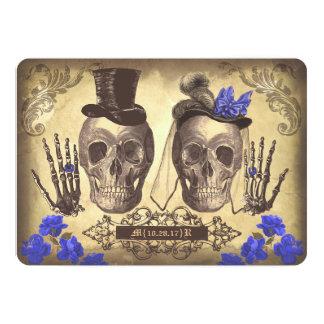 """El día gótico de los pares del cráneo del boda invitación 5"""" x 7"""""""