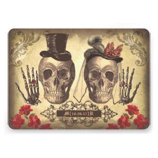 El día gótico de los pares del cráneo del boda mue invitacion personal