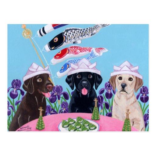 El día Labradors de los niños japoneses Tarjeta Postal