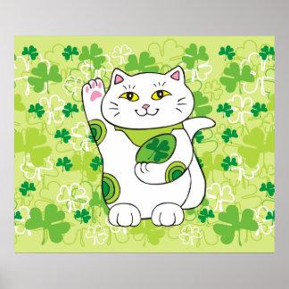 El día Maneki Neko (gato afortunado) de St Patrick Póster