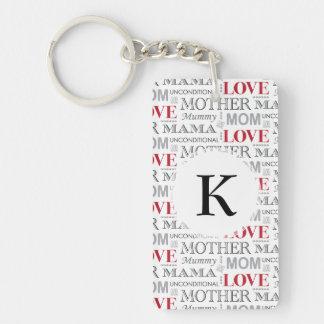El día o el cumpleaños de madre del amor de madre llavero rectangular acrílico a doble cara