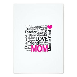 """El día o el cumpleaños de madre para una mamá invitación 5"""" x 7"""""""
