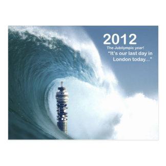 El día pasado en Londres - un tsunami engulle Lond Tarjetas Postales