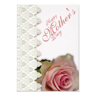 """El día y el rosa de madre feliz con el poema - 1 invitación 5"""" x 7"""""""