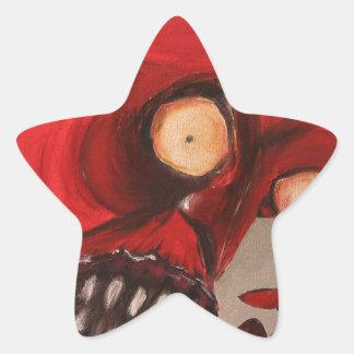 El diablo come soplos del queso pegatina en forma de estrella