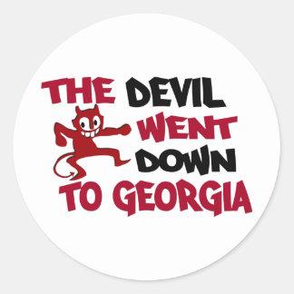 El diablo fue abajo a Georgia Pegatina Redonda