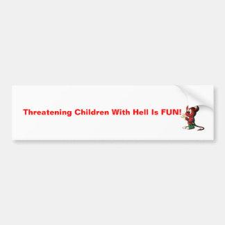 ¡el diablo, los niños que amenazan con infierno es pegatina de parachoque